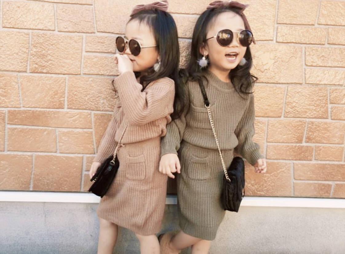 女の子 ニット セットアップ 双子コーデ